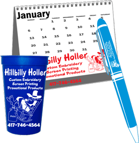 customized promotional cups, calendars, and pens
